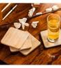 Exclusivelane Square Brown Wood Coasters - Set of 4