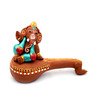 ExclusiveLane Brown Terracotta Hand Painted Veena Ganesha Idol