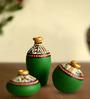 ExclusiveLane Green Terracotta Warli Miniature Pot - Set of 3