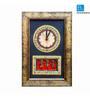 Exclusivelane Multicolor Wood & Acrylic 10 x 15 Inchwarli Art Handpainted & Dhokra Work Clock with Golden Border