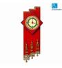 Exclusivelane Red Recycled Wood 6.7 x 15.7 Inch Warli Art Handpainted & Dhokra Work Zigzag Clock