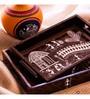 Exclusivelane Warli Handpainted Brown Recycled Wood Trays - Set of 2