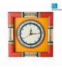 Exclusivelane Multicolor Wooden 10 x 10 Inch Warli Art Handpainted Clock