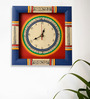 Exclusivelane Blue & Red Wooden 10 x 10 Inch Wall Clock