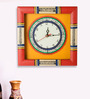 Exclusivelane Yellow & Red Wooden 10 x 10 Inch Wall Clock