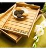 Exclusivelane Warli Handpainted Lacquer Polish Light Brown Mango Wood Trays - Set of 2