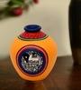 Exclusivelane Yellow Terracotta Hand Painted Madhubani Matki Vase