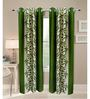 Exporthub Green Polyester 84 x 48 Inch Floral Eyelet Door Curtain - Set of 2