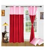 Exporthub Red Polyester 84 x 48 Inch Solid Eyelet Door Curtain - Set of 2