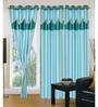 Exporthub Blue Polyester 84 x 48 Inch Solid Eyelet Door Curtain - Set of 3