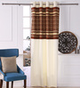 Eyda Brown Polyester 53 x 84 Inch Geomatics Black Out Door Curtains - Set of 2