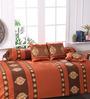 Eyda Brown Polyester Damask Diwan Set - Set of 6