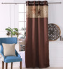 Eyda Choco Polyester 53 x 84 Inch Satin Tape Black Out Door Curtains - Set of 2