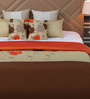 Eyda Golden Polyester Queen Size Bed Cover - Set of 5
