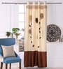 Eyda Ivory Polyester 53 x 84 Inch 3D Flower Door Curtains - Set of 2