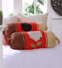 Eyda Red Polyester 16 x 30 Inch 3D Flower Bolster Covers - Set of 2