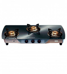 Faber Crystal Silver Glass Top 3-burner Cooktop (Model: 30 CT-AIDG)