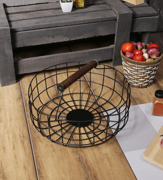 Fabuliv Black Metal & Mango Wood Hand Woven Basket With Handle