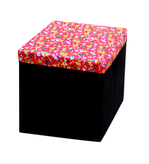 FabLooms Red Paper Mache 4 L Storage Stool Box