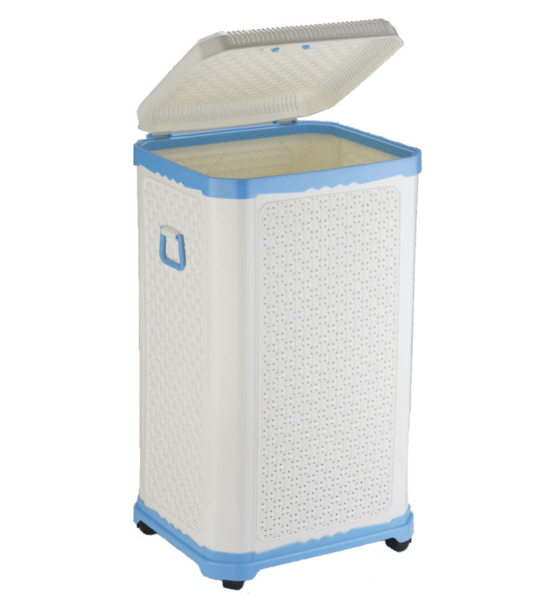 Primeway Fancy Box Big Laundry Hamper On Wheels Light Blue