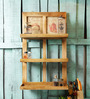 Fabuliv Brown Mango Wood Double Framed Kitchen Shelf with 3 Slabs