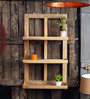 Fabuliv Brown Mango Wood Double Framed Wall Shelf with 3 Slabs