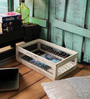 Fabuliv Mango Wood & Iron Distress White Crate Basket