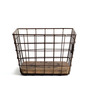 Fabuliv Black Metal Wire Basket with Wooden Base