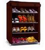 Fancy 4 Layer Dark Brown & Black Border Design Portable Multi Utility Shoe Rack by Pindia