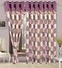 Cortina Precious Purple Polyester Eyelet Window Curtain- Set of 2