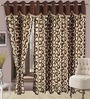 Cortina Precious Chocolate Polyester Eyelet Window Curtain- Set of 2