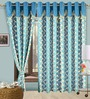Cortina Precious Blue Polyester Eyelet Window Curtain- Set of 2