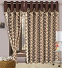 Cortina Precious Brown Polyester Eyelet Window Curtain- Set of 2