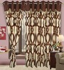 Cortina Brown Polyester Floral Eyelet Window Curtain- Set of 2