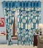 Cortina Fine Blue Polyester Eyelet Window Curtain- Set of 2