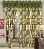 Cortina Moss Green Polyester Eyelet Window Curtain- Set of 2