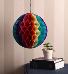 Festive Collection Multicolour Metallic Paper Folding Honeycomb Pom Decoration Balls - Set Of 4