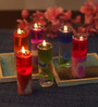 Festive Collection Multicolour Glass Fancy Pencil Candle - Set of 12