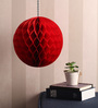 Festive Collection Red Metallic Paper Folding Honeycomb Pom Decoration Balls - Set of 4