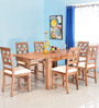 Festo Six Seater Solid Wood Dining Set in Brown Colour by @Home