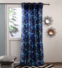 Fflaunt Blue Polyester Curtains - Set Of 2
