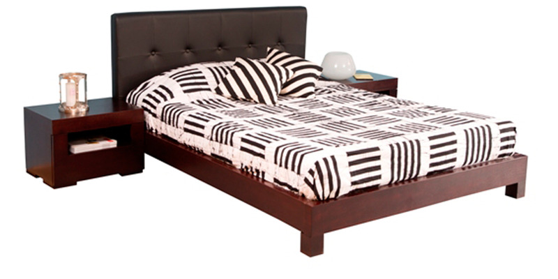 Fiji Queen-Size Bed in Black Colour by Forzza