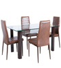 Fiesta Four Seater Dining Set in Brown Colour by HomeTown