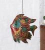 Ethnic Clock Makers Multicolour Metal Fish Jali Medium Wall Art