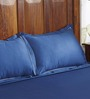 Fisher West NY Cilantro Blue Cotton Abstract King Bed Sheet (with Pillow Covers) - Set of 3