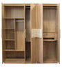 Five Door Wardrobe with Cushion Handles in Natural & White Colour by Penache Furnishings