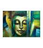 Fizdi Canvas 34 x 0.2 x 22 Inch Smiling Green Buddha Unframed Art Painting