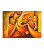 Fizdi Canvas 36 x 0.2 x 24 Inch Orange Shade Ganesha Unframed Art Painting