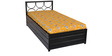Metallic Single Bed with Hydraulic Storage in Dark Brown Colour by FurnitureKraft