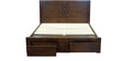 Emerico Queen Size Bed with Front Storage in Dark Walnut Finish by CasaCraft